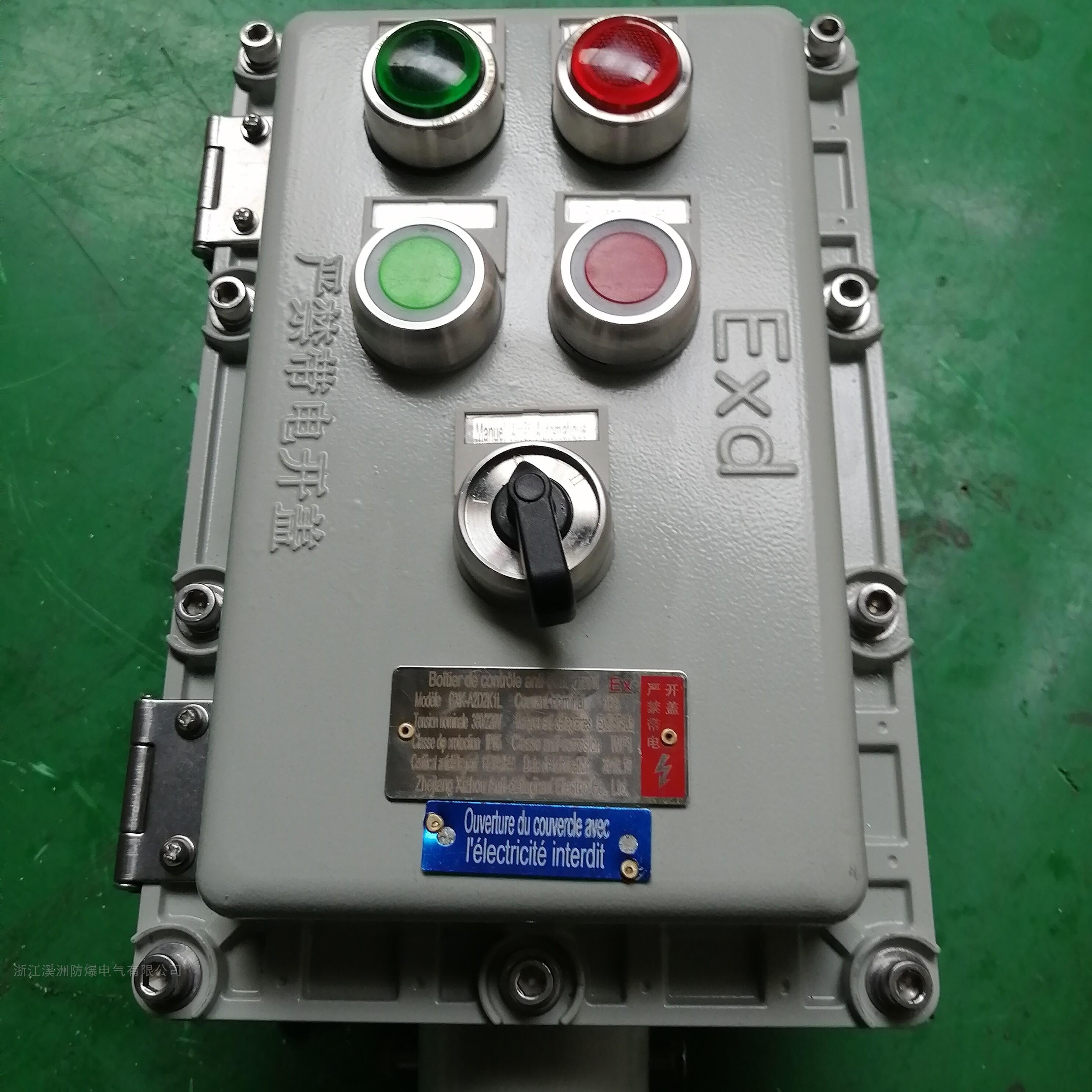 防爆控制箱两灯两钮一转换立式带防雨罩