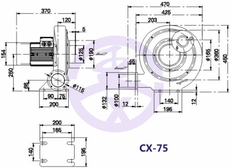 550w750W1.1kw1.5kw2.2kw铝壳中压风机生物质燃烧机炉灶鼓风机示例图8